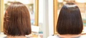 縮毛矯正とカラーリング、施術はアレを使ってやば艶ストレートカラーに